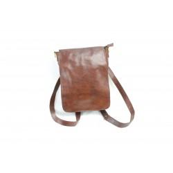 sac à dos en cuir transformable marron chocolat