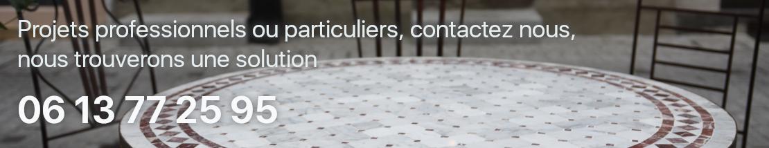 Sur mesure projets pros, particuliers, pour vous offrir le meilleur de l'atrtinat du Maroc depuis Revel, par exemple les carreaux ciment, la faïence  zellige, le mobilier de jardin en fer forgé, la décoration, le design...